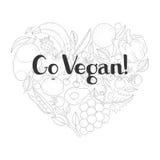 Postkarte mit Beschriftung Gehen Vegan Lizenzfreie Stockfotos