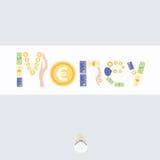 Postkarte mit Bild des Geldes Stockfoto