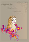 Postkarte mit Bild des Mädchens Lizenzfreie Stockfotografie