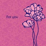Postkarte mit Blumen Stockbilder
