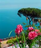 Postkarte mit der Rose auf dem Hintergrund von Salerno-Bucht im tyrrhenischen Meer in Landhaus Rufolo-` s Garten in Ravello, Ital Lizenzfreie Stockfotografie