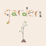 Postkarte mit einem Bild der Werkzeuge für Garten und Gemüse GA Stockfoto