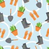 Postkarte mit einem Bild der Werkzeuge für Garten und Gemüse GA Stockbild