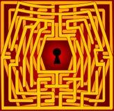 Postkarte mit einem Labyrinth. Valentinstag Stockbild