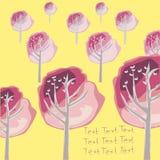Postkarte mit einem Wald von rosa Bäumen Stockfotografie