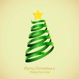 Postkarte mit einem Weihnachtsbaum Stockbilder
