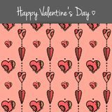 Postkarte mit farbigen Herzen Stockfotos