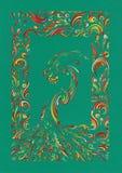 Postkarte mit Folkloremuster und Smaragdhintergrund Stockbild