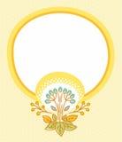 Postkarte mit gelbem Rahmen und gelber Blume Lizenzfreie Stockfotografie