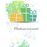 Postkarte mit Geschenken und Dankbarkeit auf einem Aquarell Stockbilder