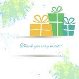 Postkarte mit Geschenken und Dankbarkeit auf einem Aquarell Stockbild
