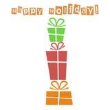 Postkarte mit Geschenken und guten Wünschen lizenzfreie abbildung