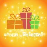 Postkarte mit Geschenken und guten Wünschen für ein glückliches Lizenzfreies Stockfoto
