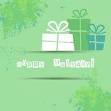 Postkarte mit Geschenken und guten Wünschen für ein glückliches Lizenzfreie Stockbilder