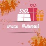 Postkarte mit Geschenken und guten Wünschen für ein glückliches Stockfotografie