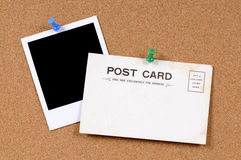 Postkarte mit leerem Foto Stockbild