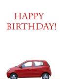Postkarte mit rotem Auto Lizenzfreie Stockfotografie