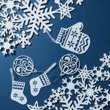 Postkarte mit Schneeflocken Stockbilder
