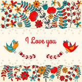 Postkarte mit Vogel und Blume Im Kreis für Grüße Lizenzfreie Stockbilder
