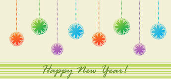 Postkarte mit Weihnachtskugeln (glückliches neues Jahr) vektor abbildung