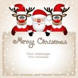 Postkarte mit Weihnachtsren und -sankt Lizenzfreies Stockbild
