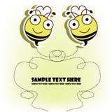 Postkarte mit zwei Bienen Lizenzfreie Stockfotos