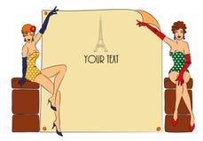 Postkarte mit zwei Pin-up-Girl Lizenzfreie Stockfotografie