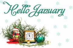 postkarte Neues Jahr `s Aufbau antiken Lederne Uhr stockfoto