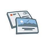 Postkarte oder Grußkartenikone in der Karikaturart Stockbild