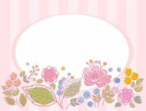 Postkarte, Rahmen, Rosa, gestreift mit Blumen Lizenzfreie Stockfotos