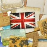 Postkarte und alte Papiere Stockfotografie