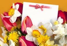 Postkarte- und Frühlingsblumen Stockbilder