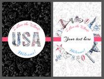 Postkarte USA lizenzfreie abbildung