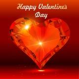 Postkarte am Valentinstag mit dem Herzen eines Edelsteins Stockbild