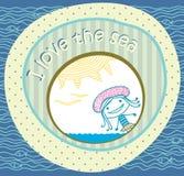 Postkarte vom Strand. Mädchen und das Meer lizenzfreie abbildung