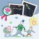 Postkarte von den Grußelementen. Vatertag stock abbildung
