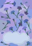 Postkarte von den Kornblumen mit dem Fleck Stockfotografie