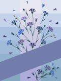 Postkarte von den Kornblumen mit purpurroter Linie Stockfotos