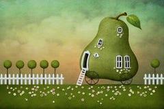 Postkarte von der Haus Birne Stockfotos