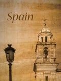 Postkarte von Jerez de la Frontera, Andalusien, Spanien, im Weinleseblick Lizenzfreies Stockfoto