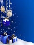 Postkarte - Weihnachtsflitter und -geschenke. stock abbildung