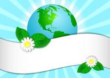 Postkarten-am 22. April - Tag der Erde Kugel mit Aufkleber für Text Stockfotografie
