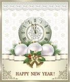 Postkarten-guten Rutsch ins Neue Jahr 2019 mit Bällen, Uhren und Glocken Stockfotos