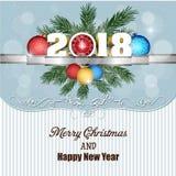 Postkarten-guten Rutsch ins Neue Jahr 2018 und frohe Weihnachten Stockbild