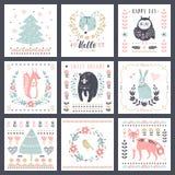 Postkarten mit netten Illustrationen Vektorsatz für Kind-` s druckt, Grüße, Poster, das T-Shirt und verpackt stock abbildung