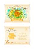 Postkarten-Sommer-Weinlese-Art-Freihandzeichnen-Zeichnung Stockfotos