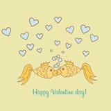 Postkarten-Valentine Day-Goldfisch Stockbild