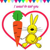 Postkarten-Valentinstag mit Häschen Stockbild