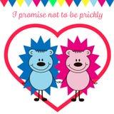 Postkarten-Valentinstag mit Igelen Lizenzfreies Stockfoto