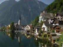 Postkartenbild Hallstad Österreich Stockfotos